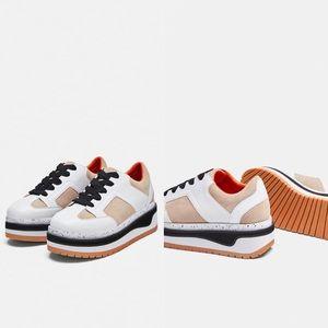 NWT ZARA Platform Suede Multicolor Sneakers